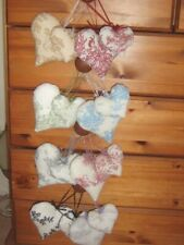 2 French Shabby Chic Toile de Jouy Fabric Padded Heart Hanging Decorations Menu