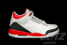 2013 Nike Air Jordan 3 Retro FIRE RED Size 13 White Silver Black 136064-120