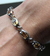 UNIQUE ,FANCY CUT CITRINE BRACELET set in .925 STERLING SILVER FREE SHIPPING!!