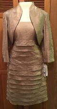 NWT Jessica Howard Dress Gold Size 8 2 Piece Evening Formal Tiered Bolero Jacket