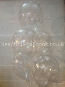 15 Frozen Snowflakes Pearlised Latex Balloons (Helium Balloons)