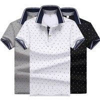 Fashion Men's Shirt Casual Cotton Slim Short Sleeve T-Shirts Formal Tee Tops