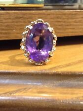 Vintage 14K Yellow Gold Oval natural Amethyst Ring Size 8.5