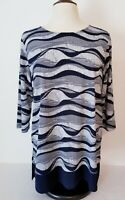 Christopher & Banks L Blue White Striped 3/4 Sleeve Tunic Top