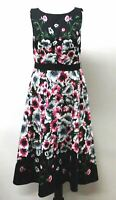 HOBBS Ladies Blue Cotton Blend Sleeveless Floral Sissinghurst Dress UK10 NEW