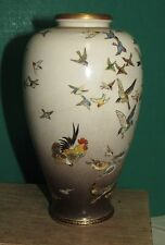 Antique Japanese Satsuma Vase with Rooster and Bird Decoration Signed