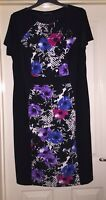 David Emanuel Black Smooth Feel Floral Mix Dress, Size 18 - Beautiful!