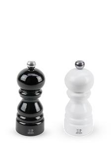 Duo de moulins poivre et sel manuels en bois laqué noir et laqué blanc 12cm