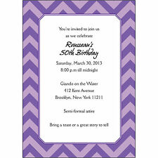 25 Personalized Birthday Party Invitations  - BP-023 Chevron Purple