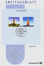 FRG 2006: Lighthouses First day sheet No 2555+2556 with Bonner Special postmark!