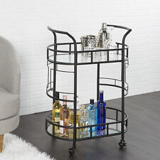 Bar Drinks Cart Portable 2-Tier Wine Whiskey Party Serving Cart Wheel Glass NEW