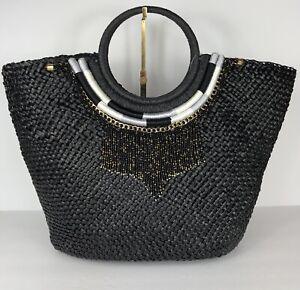 INC International Concepts Straw Necklace Handbag Tote Black / Gold NEW