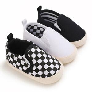 Infant Baby Boy Canvas Shoes Flat Soft Sole Toddler Slip On Newborn Crib Sneaker