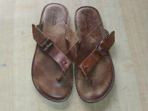 Aldo Men's Thong Sandals Brown Strap Slip On Flip Flops Euro 44 US 11