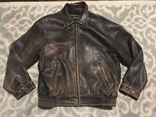 JOSEPH FEISS LAMBSKIN GENUINE SOFT LEATHER ZIP DISTRESSED BOMBER JACKET