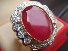 # 10.75 Lofty Red Ruby Sapphire CZ Gem Jumbo Men Man Gold 24K Ring Solitaire