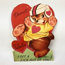 "Vtg 1940s 1950s Valentines Card 5"" Football Player Bear Ephemera Paper Greeting"