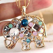 Cn _ Mode Lange Kette Anhänger Mehrfarbige Strass Elefant-Halskette Schmuck