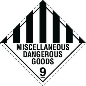 Miscellaneous Dangerous Goods 9 Stickers 100 X 100 mm Roll Of 500