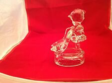 Heavy Glass Figurine State Clear Girl W/ Geese Goose Girl Excellent Condition