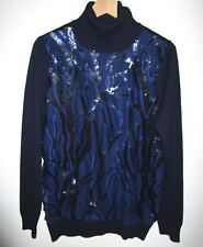 Turtleneck Sweater by Joseph A. Size Large L Navy Blue Sequin Design Top NWT