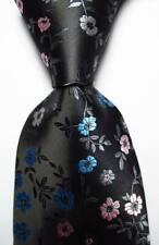 New Classic Floral Gray Pink Blue JACQUARD WOVEN 100% Silk Men's Tie Necktie