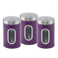 3pc HQ Window Canister Set Stainless Steel Jar Tea Coffee Sugar Cannister PURPLE