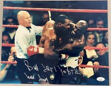 Mills Lane Signed Photo 11x14 Mike Tyson Autograph Boxing Evander Holyfield JSA