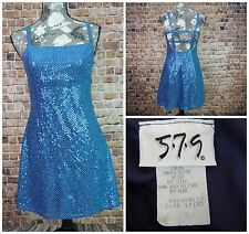 5.7.5 Junior Women Party Prom Dress Size 5 Blue Sequence Made In USA