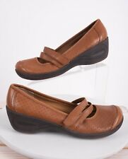 Easy Spirit Womens Eskellendra Wedge Mary Jane Shoes Sz 6.5 Wide Brown Leather