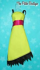 MONSTER HIGH COLOR ME CREEPY DOLL OUTFIT REPLACEMENT BLACK YELLOW DRESS ONLY