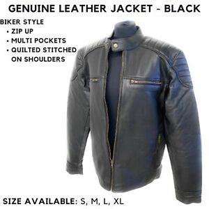 Men Modern Black Leather Jacket Motorbike Motorcycle Jacket Quilted Stitched UK
