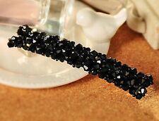 Barrette pince - fleurs cristal noir , bijou de cheveux mariage