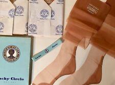 1940s Lucky Circle Black Seamed Honey Glo Nylon Stockings 10 X 38� Xl Flat Knit