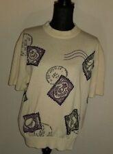 ST JOHN COLLECTION Short Sleeve Sweater Stamps Large MARIE GREY Mockneck Vintage