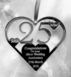 SILVER WEDDING 25TH ANNIVERSARY GIFT, PERSONALISED HEART KEEPSAKE FROM YOU