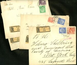 """EDW1949SELL : GERMANY 4 1938 Mixed Germany-Austria franking Reg covers to """"HIAS"""""""