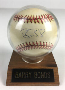 Barry Bonds Autographed Baseball On Display Stand, Rawlings Official League Ball