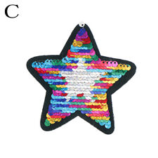reversible change color sequins five-pointed star sew on patches for clothes*UK*