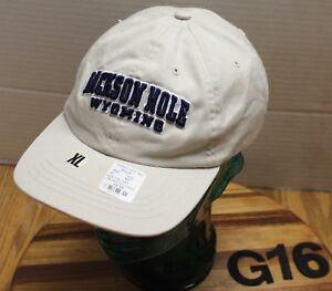 NWT YOUTH JACKSON HOLE WYOMING HAT BEIGE STRAPBACK SIZE XL EMBROIDERED G16