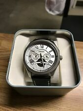 Fossil Foreman Automatic White Dial Black Leather Men's Watch