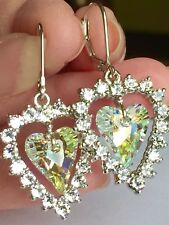 J Frances AB Crystal Swarovski Crystal Heart Lv Bk Earrings Platinum On Silver