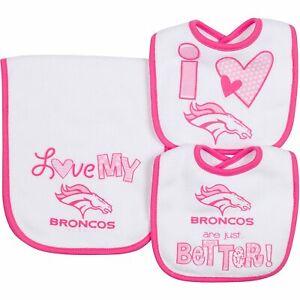 Gerber NFL Infant Girls Denver Broncos Dribbler Bibs & Burp Cloth Set