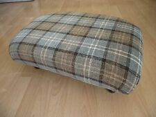 New Superb Pale Green Tartan footstool with traditional short queen anne legs