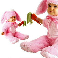 Baby Girl Bunny Rabbit Costume Precious Pink Wabbit 6-12m Infant Child w Rattle