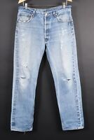 VTG LEVI'S 501 Button Fly Thrashed Denim Jeans Mens Size 35x36 Actual (35x32)
