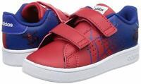 Adidas Advantage Scarpe Bambino Spiderman Marvel Blu a Strappo Asilo Allenamento