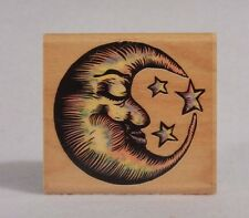Sleepy Moon A260-E : Wood Mounted Stamp by Rubber Stampede