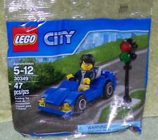 Lego City Blue Car with Driver & Traffic Light 30349 in Bag  47 pcs New