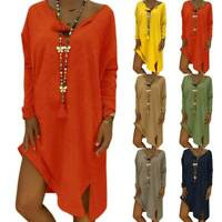 Plus Size Women Long Sleeve Baggy T Shirt Dress Tunic Slit Casual Blouse Tops US